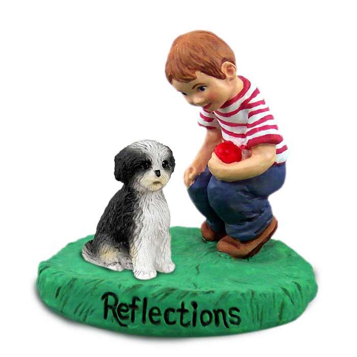 Shih Tzu Black & White w/Sport Cut Reflections w/Boy Figurine
