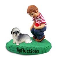 Lhasa Apso Gray w/Sport Cut Reflections w/Boy Figurine