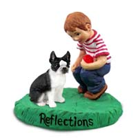 Boston Terrier Reflections w/Boy Figurine