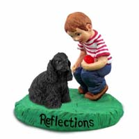 Cocker Spaniel Black Reflections w/Boy Figurine