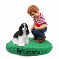 Cocker Spaniel Black & White Reflections w/Boy Figurine
