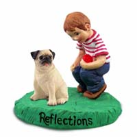 Pug Fawn Reflections w/Boy Figurine