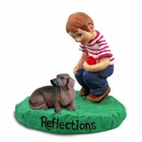 Dachshund Red Reflections w/Boy Figurine