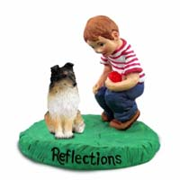 Sheltie Tricolor Reflections w/Boy Figurine
