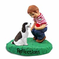 Springer Spaniel Liver & White Reflections w/Boy Figurine