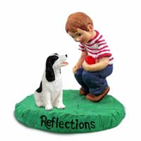 Springer Spaniel Black & White Reflections w/Boy Figurine