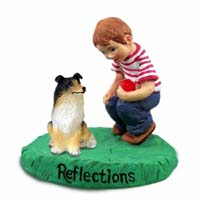 Collie Tricolor Reflections w/Boy Figurine