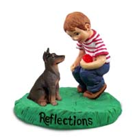 Doberman Pinscher Red w/Cropped Ears Reflections w/Boy Figurine