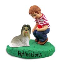 Shih Tzu Mixed Reflections w/Boy Figurine