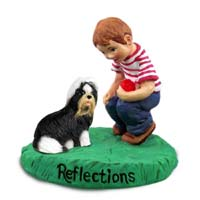 Shih Tzu Black & White Reflections w/Boy Figurine