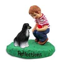 Afghan Black & White Reflections w/Boy Figurine