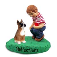 Boxer Brown Reflections w/Boy Figurine
