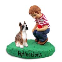 Boxer Brindle Reflections w/Boy Figurine