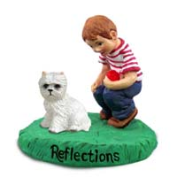 West Highland Terrier Reflections w/Boy Figurine