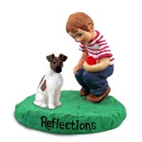 Fox Terrier Brown & White Reflections w/Boy Figurine