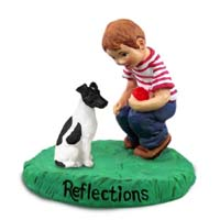 Fox Terrier Black & White Reflections w/Boy Figurine