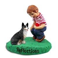 Welsh Corgi Cardigan Reflections w/Boy Figurine