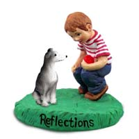 Greyhound Blue Reflections w/Boy Figurine