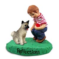 Akita Gray Reflections w/Boy Figurine
