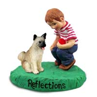 Akita Fawn Reflections w/Boy Figurine