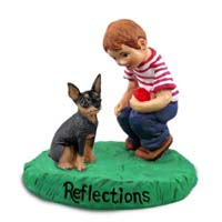 Miniature Pinscher Tan & Black Reflections w/Boy Figurine
