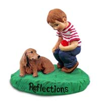 Dachshund Longhaired Red Reflections w/Boy Figurine