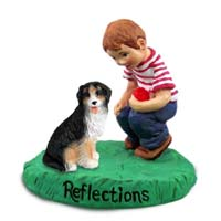 Bernese Mountain Dog Reflections w/Boy Figurine