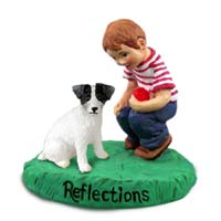 Jack Russell Terrier Black & White w/Rough Coat Reflections w/Boy Figurine