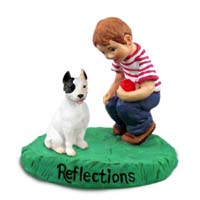 Pit Bull Terrier White Reflections w/Boy Figurine