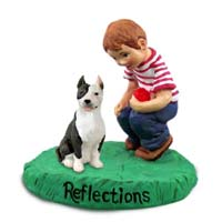 Pit Bull Terrier Brindle Reflections w/Boy Figurine