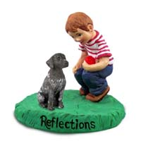 German Short Haired Pointer Reflections w/Boy Figurine
