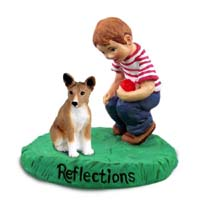 Basenji Reflections w/Boy Figurine