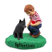 Schipperke Reflections w/Boy Figurine