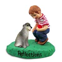 Irish Wolfhound Reflections w/Boy Figurine