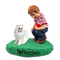 American Eskimo Miniature Reflections w/Boy Figurine