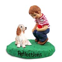 English Setter Belton Orange Reflections w/Boy Figurine