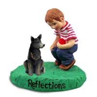 Australian Cattle Blue Dog Reflections w/Boy Figurine