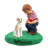 Whippet Tan & White Reflections w/Boy Figurine