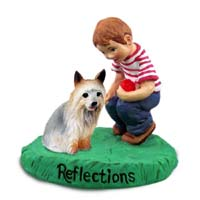 Silky Terrier Reflections w/Boy Figurine