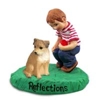 Border Terrier Reflections w/Boy Figurine