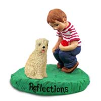 Soft Coated Wheaten Terrier Reflections w/Boy Figurine