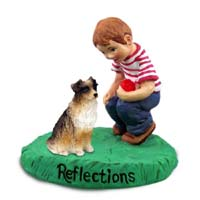Australian Shepherd Brown Reflections w/Boy Figurine