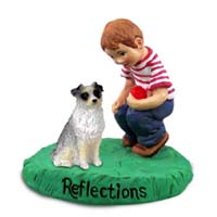 Australian Shepherd Blue Reflections w/Boy Figurine
