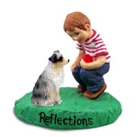 Australian Shepherd Blue w/Docked Tail Reflections w/Boy Figurine