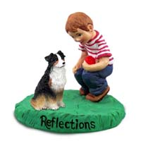 Australian Shepherd Tricolor Reflections w/Boy Figurine