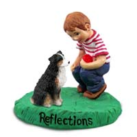 Australian Shepherd Tricolor w/Docked Tail Reflections w/Boy Figurine