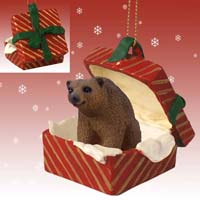 Bear Brown Gift Box Red Ornament