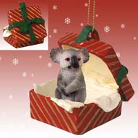 Koala Gift Box Red Ornament