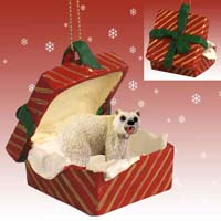 Bear Polar Gift Box Red Ornament