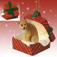Cougar Gift Box Red Ornament